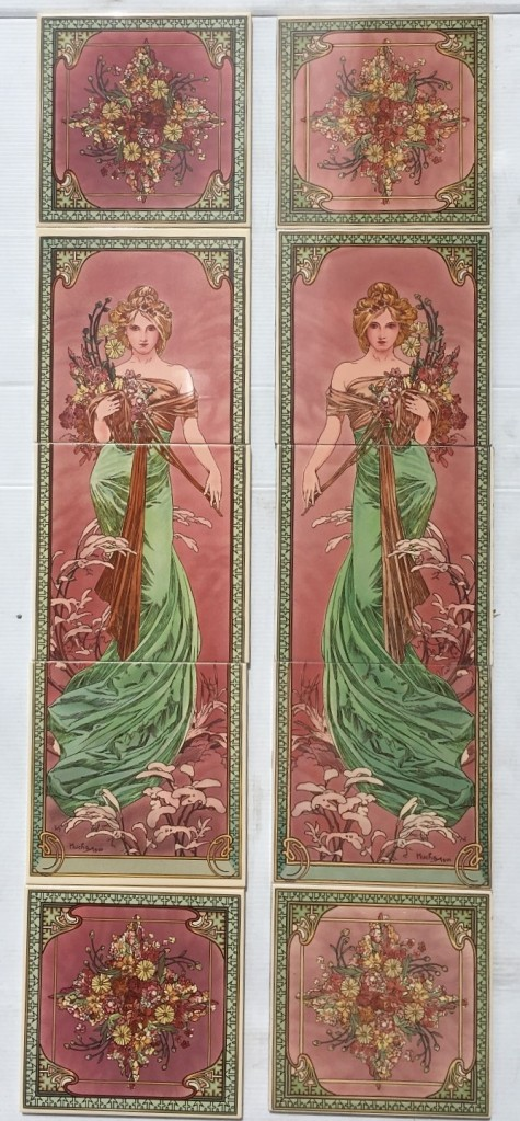Alphonse Mucha reproduction Art Nouveau fireplace tiles, continuous pattern 'Spring', woman in a green dress on a pink background, mirror image left and right panels, $345 OTB 22