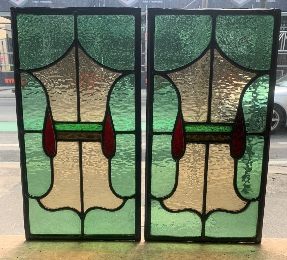 Pair of leadlight panels , 456 mm x 245 mm , $ 165 each , 2 available salvaged, recycled, demolition, reproduction, restoration, renovation,collectable, secondhand, used , original, old, reclaimed, heritage, antique, victorian, art nouveau edwardian, georgian, art deco
