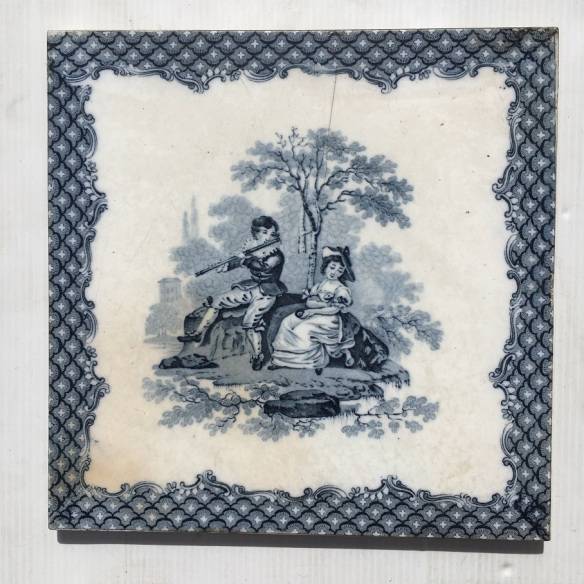 Minton and Co. antique early Victorian tile, c 1865, 8 x 8 inch / 203 x 203mm, blue and white, $65