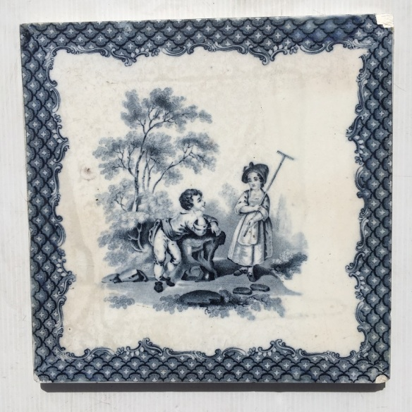Minton and Co. antique early Victorian tile, c 1865, 8 x 8 inch / 203 x 203mm, blue and white, $55