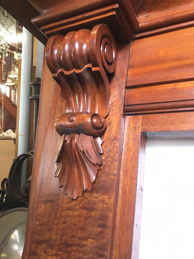 Detail of grand original Victorian Queensland cedar fireplace mantel, beautiful timber grain, finely detailed corbels, top shelf width 1660mm x height 1310mm, opening width 915mm x height 965mm, $1400