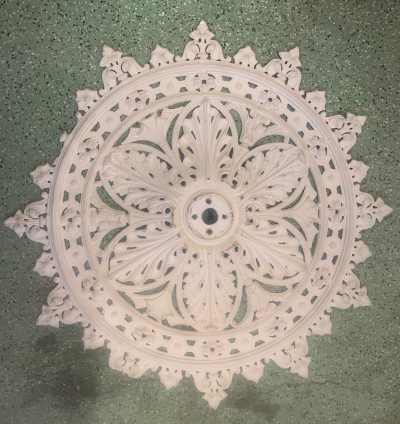 salvaged, recycled, demolition, reproduction, restoration, renovation,collectable, secondhand, used , original, old, reclaimed, heritage, antique, victorian, art nouveau edwardian, georgian, art deco Original Victorian cast iron ceiling rose, 86cm diameter, as is $220