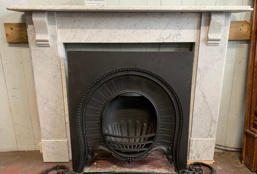 Early Victorian cast iron fireplace, pattern registered in 1854, fully restored, horseshoe shaped arch with egg shaped fire basket, height 918mm x width 865mm, $745 salvaged,Victorian Carrara marble mantlepiece , Top shelf is 1580 mm x 230 mm , height is 1175 mm , opening is 940 mm x 940 mm , $ 2750 recycled, demolition, reproduction, restoration, renovation,collectable, secondhand, used , original, old, reclaimed, heritage, antique, victorian, art nouveau edwardian, georgian, art deco