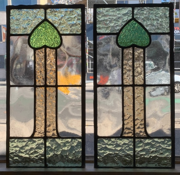 salvagedLeadlight panels , 1160 mm x 220 mm , $ 325 each , 2 available, recycled, demolition, reproduction, restoration, renovation,collectable, secondhand, used , original, old, reclaimed, heritage, antique, victorian, art nouveau edwardian, georgian, art deco