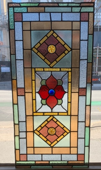 """salvaged, recycled,Large leadlight panel , made by """" Montgomery and Grimbly """" of Peel Street Adelaide , 1230 mm x 600 mm , $ 1050 , demolition, reproduction, restoration, renovation,collectable, secondhand, used , original, old, reclaimed, heritage, antique, victorian, art nouveau edwardian, georgian, art deco"""