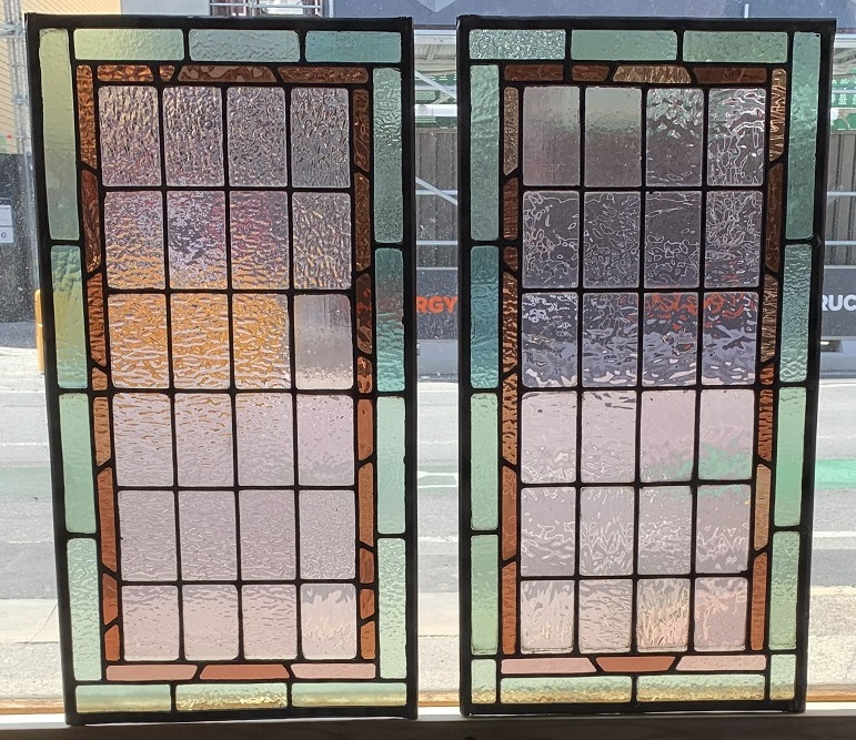 salvagedLeadlight panels , geometric pattern with green, amber and pink glass, 640 mm x 435 mm , $ 240 each , 2 available, recycled, demolition, reproduction, restoration, renovation,collectable, secondhand, used , original, old, reclaimed, heritage, antique, victorian, art nouveau edwardian, georgian, art deco