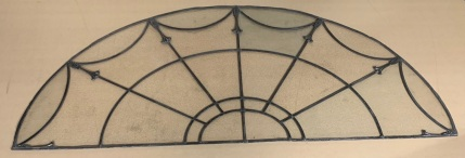 Large arched leadlight window panel with unusual cast lead decorative mounts on the radials, early 20th century 1880 mm wide x 730 mm , $785 , $785salvaged, recycled, demolition, reproduction, restoration, renovation,collectable, secondhand, used , original, old, reclaimed, heritage, antique, victorian, art nouveau edwardian, georgian, art deco