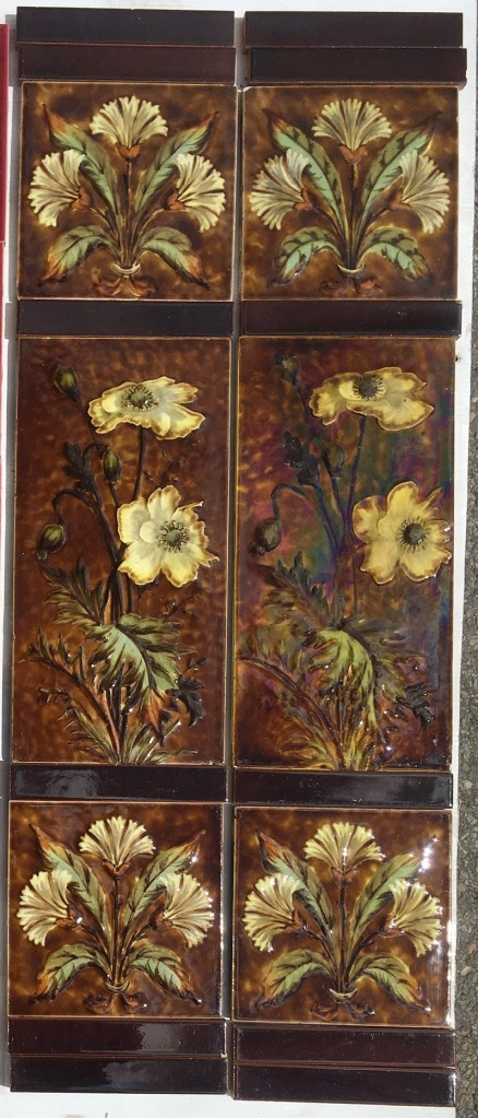 c1885-1900 Sherwin and Cotton, Victorian impasto barbotine fireplace tile set with unusual pair of double size 6 x 12 inch central tiles. 2 panel set $475 OTB 32 salvaged, recycled, demolition, reproduction, restoration, home renovation secondhand, used , original, old, reclaimed, heritage, antique, victorian, art nouveau edwardian, georgian, art deco