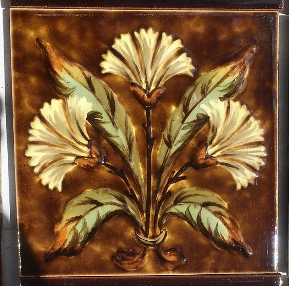 Detail of c1885-1900 Sherwin and Cotton, Victorian impasto barbotine fireplace tile set with unusual pair of double size 6 x 12 inch central tiles. 2 panel set $475 OTB 32