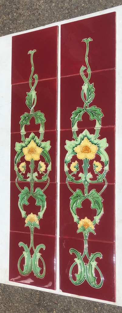 Reproduction fireplace set of 10 tiles, burgundy background with yellow flowers in a continuous design, Aesthetic / Art Nouveau style. Two panel set $320 WS salvaged, recycled, demolition, reproduction, restoration, home renovation secondhand, used , original, old, reclaimed, heritage, antique, victorian, art nouveau edwardian, georgian, art deco