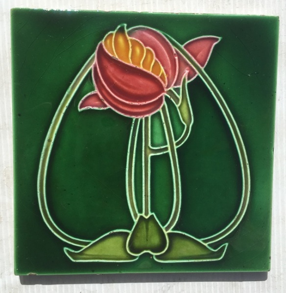 salvaged, recycled, demolition, reproduction, restoration, home renovation secondhand, used , original, old, reclaimed, heritage, antique, victorian, art nouveau edwardian, georgian, art decoOriginal Art Nouveau tile 6x6 inch poss. Rhodes Tile Co, green glaze with pink stylised flower in good condition, $40 SB