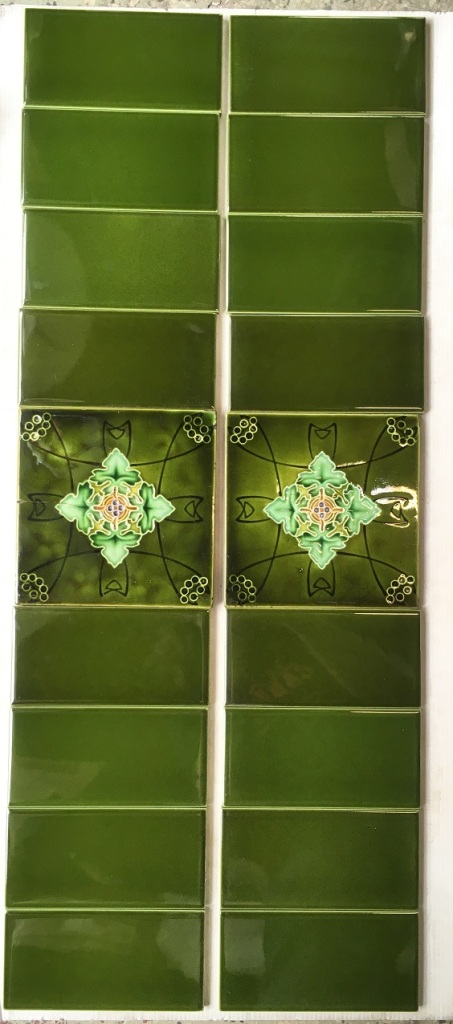 salvaged, recycled, demolition, reproduction, restoration, home renovation secondhand, used , original, old, reclaimed, heritage, antique, victorian, art nouveau edwardian, georgian, art deco Original English decorative tile 6x6 inch poss. Rhodes Tile Co. Two panel fireplace set, stylised foliage in greens, $165 OTB 29