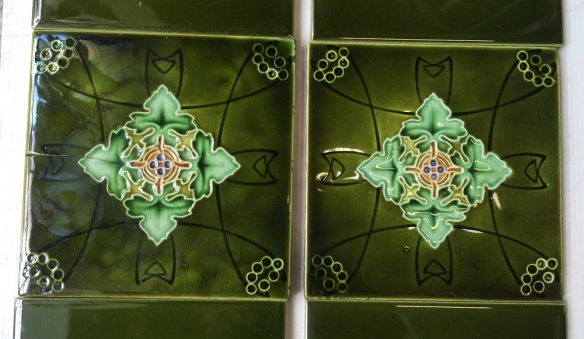 salvaged, recycled, demolition, reproduction, restoration, home renovation secondhand, used , original, old, reclaimed, heritage, antique, victorian, art nouveau edwardian, georgian, art decoDetail of original English decorative tile 6x6 inch poss. Rhodes Tile Co. Two panel fireplace set, stylised foliage in greens, $165 OTB 29