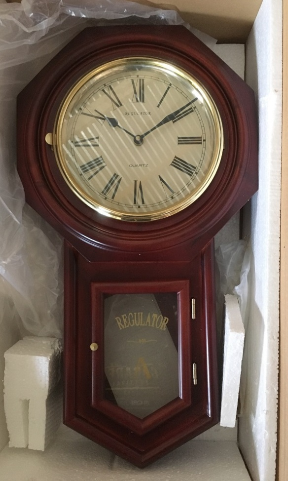 Reproduction 'Regulator A', mahogany finish wall clock, brand new in box, h 58cm $220