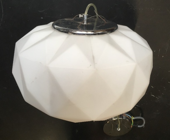 Geometric 'folded' glass pendant light, with chrome look fittings. Diameter 350mm, shade height 200mm, one available, salvaged, recycled, demolition, reproduction, restoration, home renovation secondhand, used , original, old, reclaimed, heritage, antique, victorian, art nouveau edwardian, georgian, art deco