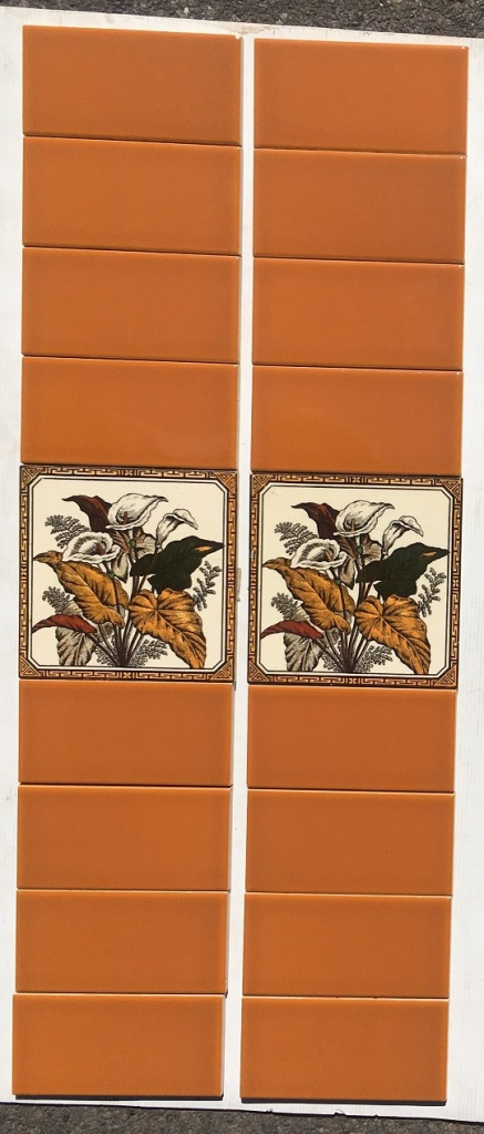 salvaged, recycled, demolition, reproduction, restoration, home renovation secondhand, used , original, old, reclaimed, heritage, antique, victorian, art nouveau edwardian, georgian, art deco Lily design reproduction feature tiles, ochre yellow / brown tones with cream background, 6 x 6 inch, $145 two panel set OTB 30