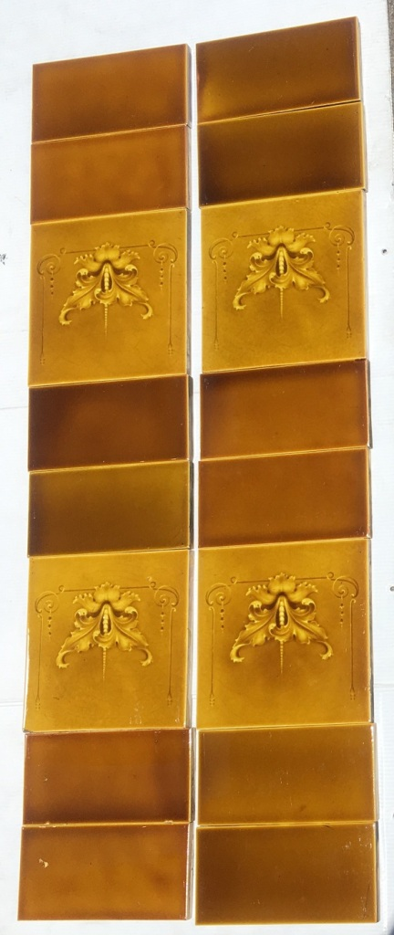 Detail of H Richards, England c 1902-1909 decorative feature tiles 6x6 inch, two panel fireplace set $235 OTB 33 H Richards, England c 1902-1909 decorative feature tiles 6x6 inch, two panel fireplace set $235 OTB 33