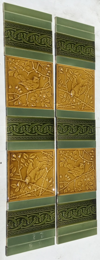 Original Mintons China Works, Stoke on Trent, high relief embossed tiles circa 1895 in old gold glaze. Two designs of birds in rose branches with rosehips 6x6 inch with decoratively embossed 6x3 inch tiles. Two panel set $485 OTB 34 salvaged, recycled, demolition, reproduction, restoration, home renovation secondhand, used , original, old, reclaimed, heritage, antique, victorian, art nouveau edwardian, georgian, art deco Original Minton high relief embossed tiles circa 1895 in old gold glaze. Two designs of birds in rose branches with rosehips 6x6 inch with decoratively embossed 6x3 inch tiles. Two panel set $485 OTB 34