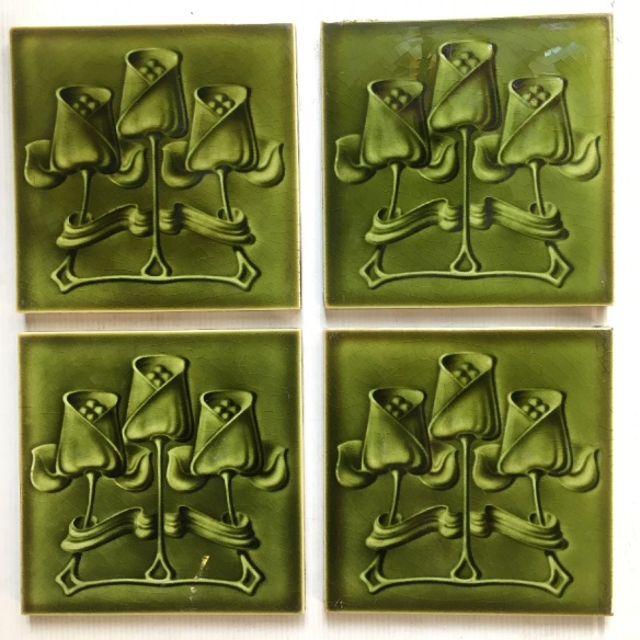 T and R Boote, England, circa 1905, Art Nouveau tiles 6x6 inch. triple tulip design, molded tiles with monochrome olivey-green glaze, 4 tile set $200, can sell pairs SET 160 (additional 6 tulip tiles available if wanting 10 feature tiles see SET 159) salvaged, recycled, demolition, reproduction, restoration, home renovation secondhand, used , original, old, reclaimed, heritage, antique, victorian, art nouveau edwardian, georgian, art deco