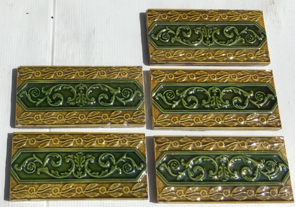 Original Victorian 3 x 6 inch fireplace tiles, ornately moulded, 5 available, $15 each SET 168 salvaged, recycled, demolition, reproduction, restoration, home renovation secondhand, used , original, old, reclaimed, heritage, antique, victorian, art nouveau edwardian, georgian, art deco