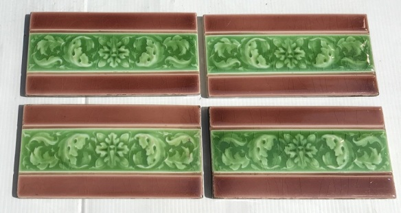 Original Sherwin and Cotton, England 3x6 inch tiles Victorian / Edwardian, moulded design, madder pink/ brown with moulded flower and foliage design in green glaze, 4 available, $15 each tile, SET 170 salvaged, recycled, demolition, reproduction, restoration, home renovation secondhand, used , original, old, reclaimed, heritage, antique, victorian, art nouveau edwardian, georgian, art deco