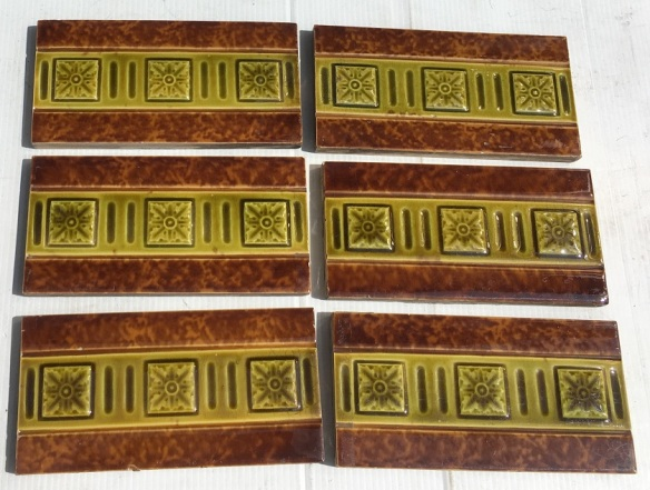 Original Victorian 3 x 6 inch fireplace tiles, moulded, brown and olive green glazes, 5 available, $15 each SET 167 green and brown mottled glaze 6 available, $15 each SET 167 salvaged, recycled, demolition, reproduction, restoration, home renovation secondhand, used , original, old, reclaimed, heritage, antique, victorian, art nouveau edwardian, georgian, art deco
