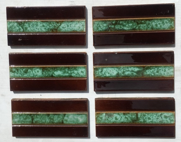 Original Victorian / Edwardian 3 x 6 inch fireplace tiles, deep brown borders with interesting jade green mottled glaze 6 available, $15 each SET 165 recycled, demolition, reproduction, restoration, home renovation secondhand, used , original, old, reclaimed, heritage, antique, victorian, art nouveau edwardian, georgian, art deco