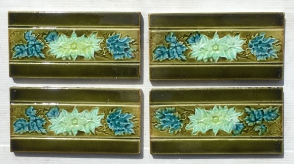 Original Victorian 3 x 6 inch fireplace tiles, moulded design, olive green borders with blue and white flowers, 5 available, $15 each SET 169 salvaged, recycled, demolition, reproduction, restoration, home renovation secondhand, used , original, old, reclaimed, heritage, antique, victorian, art nouveau edwardian, georgian, art deco