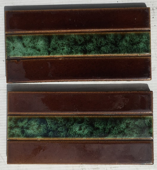 salvaged, recycled, demolition, reproduction, restoration, home renovation secondhand, used , original, old, reclaimed, heritage, antique, victorian, art nouveau edwardian, georgian, art deco Original Victorian / Edwardian 3 x 6 inch fireplace tiles, deep brown borders with interesting jade green mottled glaze 2 available, $30 SET 166