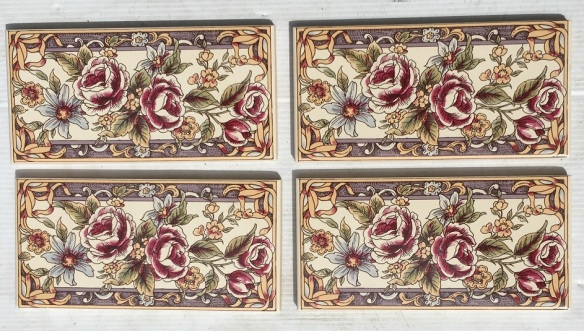 Floral decal fireplace / hearth tiles, reproduction, 153 x 75 x 8mm, 4 available, $15 each SET 179 Floral decal fireplace / hearth tiles, reproduction, 153 x 75 x 8mm, 4 available, $15 each salvaged, recycled, demolition, reproduction, restoration, home renovation secondhand, used , original, old, reclaimed, heritage, antique, victorian, art nouveau edwardian, georgian, art deco