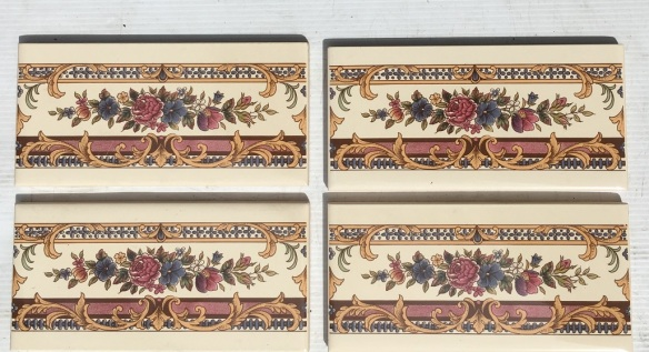 Floral decal fireplace / hearth tiles, reproduction, 153 x 75 x 8mm, 4 available, $15 each SET 180 salvaged, recycled, demolition, reproduction, restoration, home renovation secondhand, used , original, old, reclaimed, heritage, antique, victorian, art nouveau edwardian, georgian, art deco