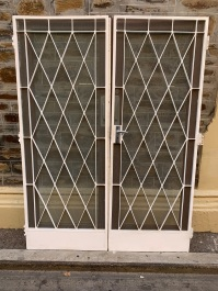 salvaged,Screen doors to go with pair of French doors with cut glass in a diamond pattern, comes with wrought iron screen doors that have the same diamond pattern mirroring the doors , 1555 mm wide x 2080 mm tall , $750 the set , glass doors and screen doors recycled, demolition, reproduction, restoration, home renovation secondhand, used , original, old, reclaimed, heritage, antique, victorian, art nouveau edwardian, georgian, art deco Screen doors to go with pair of French doors with cut glass in a diamond pattern, comes with wrought iron screen doors that have the same diamond pattern mirroring the doors , 1555 mm wide x 2080 mm tall , $750 the set , glass doors and screen doors