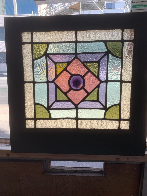 Geometric design leadlight window , 505 mm x 515 mm , $220 salvaged, recycled, demolition, reproduction, restoration, home renovation secondhand, used , original, old, reclaimed, heritage, antique, victorian, art nouveau edwardian, georgian, art deco