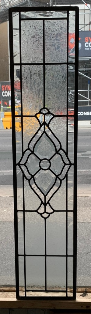 salvagedLead light panel, cut glass to central motif , 1050 mm x 230 mm , $ 190, recycled, demolition, reproduction, restoration, home renovation secondhand, used , original, old, reclaimed, heritage, antique, victorian, art nouveau edwardian, georgian, art deco