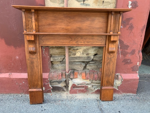 Edwardian Kauri Pine fireplace mantle, double shelf with four turnings and scrolls, top shelf is 1415mm x 240mm, height is 1395mm, opening is 920mm wide x 900mm high, $330 salvaged, recycled, demolition, reproduction, restoration, home renovation secondhand, used , original, old, reclaimed, heritage, antique, victorian, art nouveau edwardian, georgian, art deco