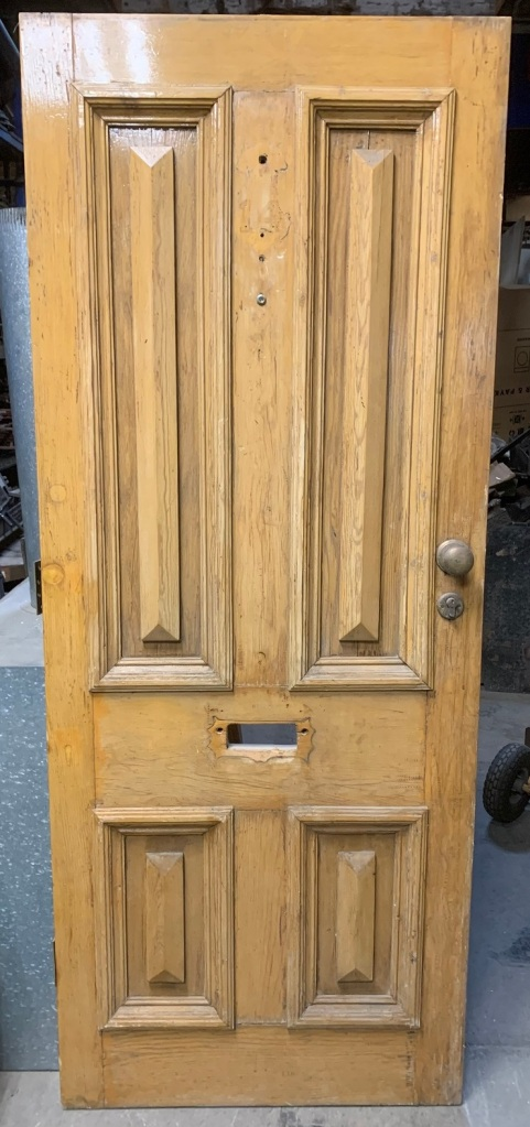 Front door with cricket bats , 810 mm x 2027 mm x 42 mm thick , $385 salvaged, recycled, demolition, reproduction, restoration, home renovation secondhand, used , original, old, reclaimed, heritage, antique, victorian, art nouveau edwardian, georgian, art deco