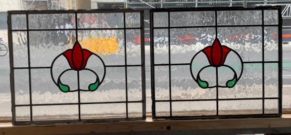 salvaged, recycled, Pair of lead light panels , 457 mm x 387 mm , $ 155 each panel , 2 matching availabledemolition, reproduction, restoration, home renovation secondhand, used , original, old, reclaimed, heritage, antique, victorian, art nouveau edwardian, georgian, art deco