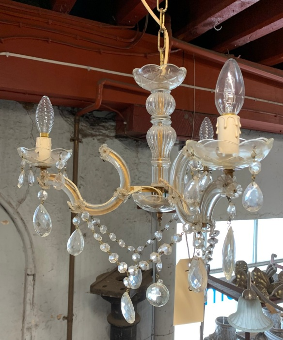 Original three branch glass chandelier with drops, earth wire fitted , $165 salvaged, recycled, demolition, reproduction, restoration, home renovation secondhand, used , original, old, reclaimed, heritage, antique, victorian, art nouveau edwardian, georgian, art deco
