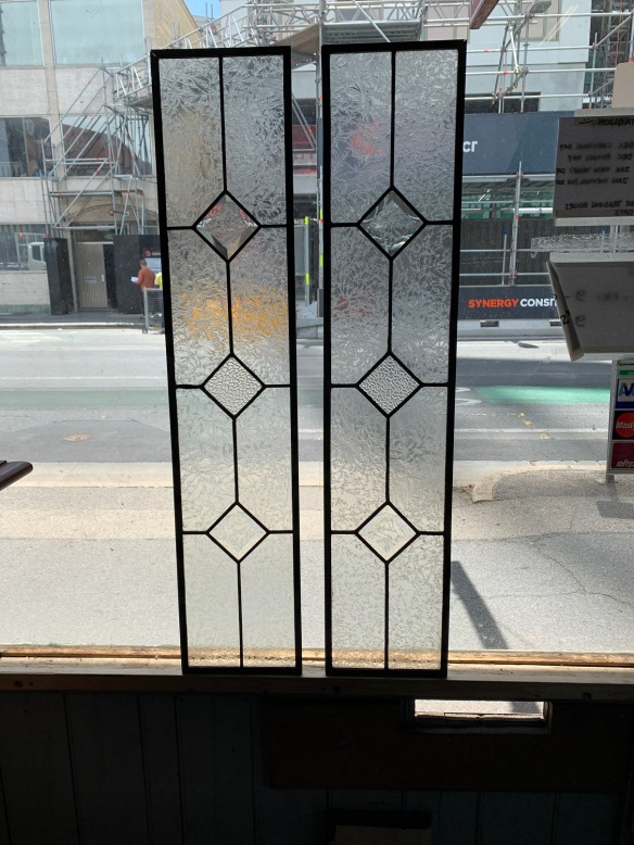 salvaged, recycledPair of lead light panels , 215 mm x 1045 mm , $ 165 each , demolition, reproduction, restoration, home renovation secondhand, used , original, old, reclaimed, heritage, antique, victorian, art nouveau edwardian, georgian, art deco