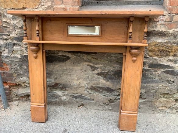Edwardian fireplace mantle, double shelf with turnings, rectangular bevelled mirror, top shelf is 1480mm x 210mm , height is 1305mm, opening is 890mm x 905mm, $330 salvaged, recycled, demolition, reproduction, restoration, home renovation secondhand, used , original, old, reclaimed, heritage, antique, victorian, art nouveau edwardian, georgian, art deco