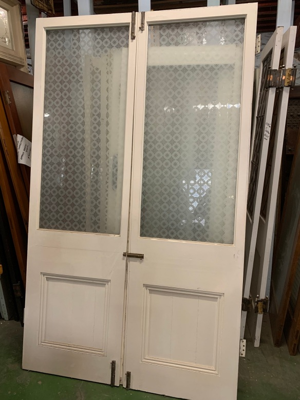 salvaged,Pair of french doors with etched glass , 2225 mm tall x 1335 mm wide, $440 the pair recycled, demolition, reproduction, restoration, home renovation secondhand, used , original, old, reclaimed, heritage, antique, victorian, art nouveau edwardian, georgian, art deco Pair of french doors with etched glass , 2225 mm tall x 1335 mm wide, $440 the pair
