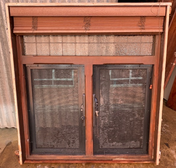 Bungalow casement window , with venetian blind , locking steel screens and geometric lead light to top panel , 1170 mm wide x 1295 mm tall $585 , inside shot salvaged, recycled, demolition, reproduction, restoration, home renovation secondhand, used , original, old, reclaimed, heritage, antique, victorian, art nouveau edwardian, georgian, art deco
