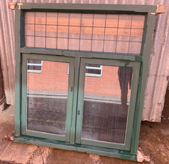 Bungalow casement window , with venetian blind , locking steel screens and geometric lead light to top panel , 1170 mm wide x 1295 mm tall $585 external shot salvaged, recycled, demolition, reproduction, restoration, home renovation secondhand, used , original, old, reclaimed, heritage, antique, victorian, art nouveau edwardian, georgian, art deco
