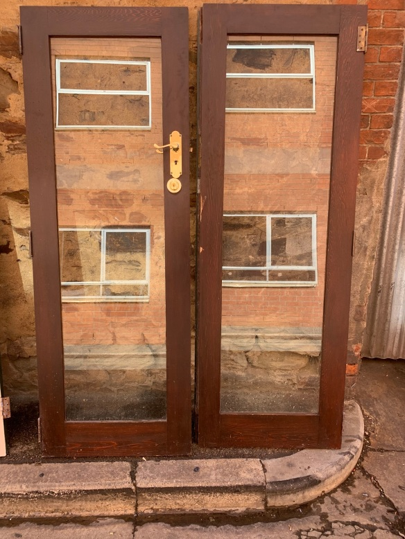 Pair of glazed french doors, 1420 mm wide x 2030 mm tall x 40 mm thick , $345 the pair salvaged, recycled, demolition, reproduction, restoration, home renovation secondhand, used , original, old, reclaimed, heritage, antique, victorian, art nouveau edwardian, georgian, art deco