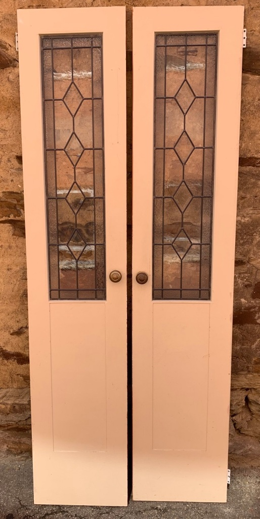 French doors with leadlight , 2 pairs available , 810 mm wide x 1970 mm tall , $285 per pair salvaged, recycled, demolition, reproduction, restoration, home renovation secondhand, used , original, old, reclaimed, heritage, antique, victorian, art nouveau edwardian, georgian, art deco