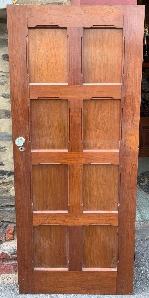 Large Blackwood door with 8 panels , glass knobs , 900 mm wide x 2100 tall x 43 mm thick , $440 salvaged, recycled, demolition, reproduction, restoration, home renovation secondhand, used , original, old, reclaimed, heritage, antique, victorian, art nouveau edwardian, georgian, art deco