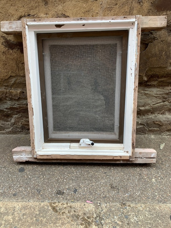 Casement window with winder and screen , 525 mm wide x 690 mm tall , $125 salvaged, recycled, demolition, reproduction, restoration, home renovation secondhand, used , original, old, reclaimed, heritage, antique, victorian, art nouveau edwardian, georgian, art deco