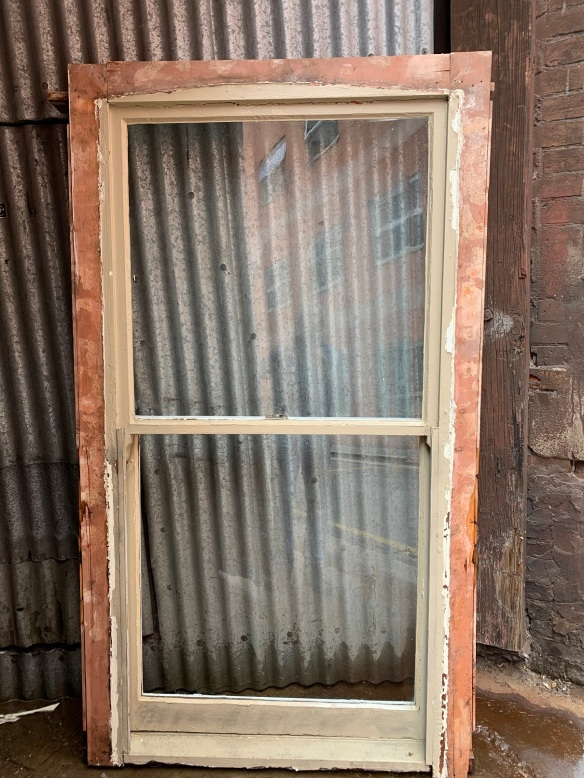 Double hung Sash window with aluminium screen , 1100 mm wide x 1950 mm tall , 120 mm deep , $150 salvaged, recycled, demolition, reproduction, restoration, home renovation secondhand, used , original, old, reclaimed, heritage, antique, victorian, art nouveau edwardian, georgian, art deco