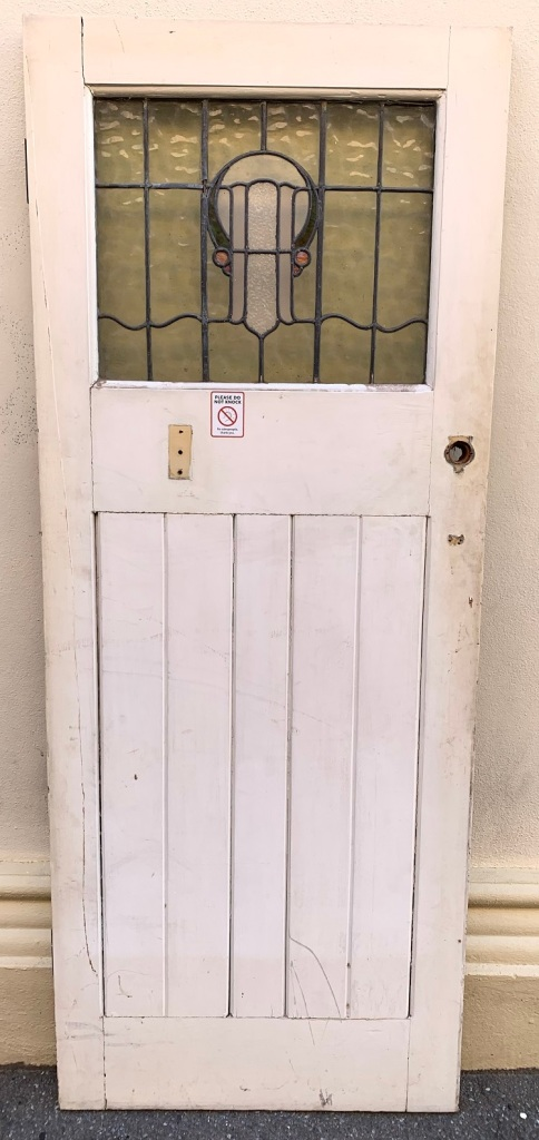 VictorianBungalow front door, with leadlight , 802 mm x 2012 mm ,x 41mm thick , $440 , external view style door with glass to the top , 807 mm wide x 2010 mm tall , $185 salvaged, recycled, demolition, reproduction, restoration, home renovation secondhand, used , original, old, reclaimed, heritage, antique, victorian, art nouveau edwardian, georgian, art deco