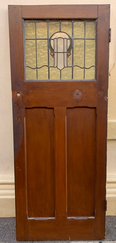 Bungalow front door, with lead light , 802 mm x 2012 mm ,x 41mm thick , $ 440 , internal view salvaged, recycled, demolition, reproduction, restoration, home renovation secondhand, used , original, old, reclaimed, heritage, antique, victorian, art nouveau edwardian, georgian, art deco